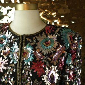Laurence Kazar Multicolor L/S Sequin Jacket